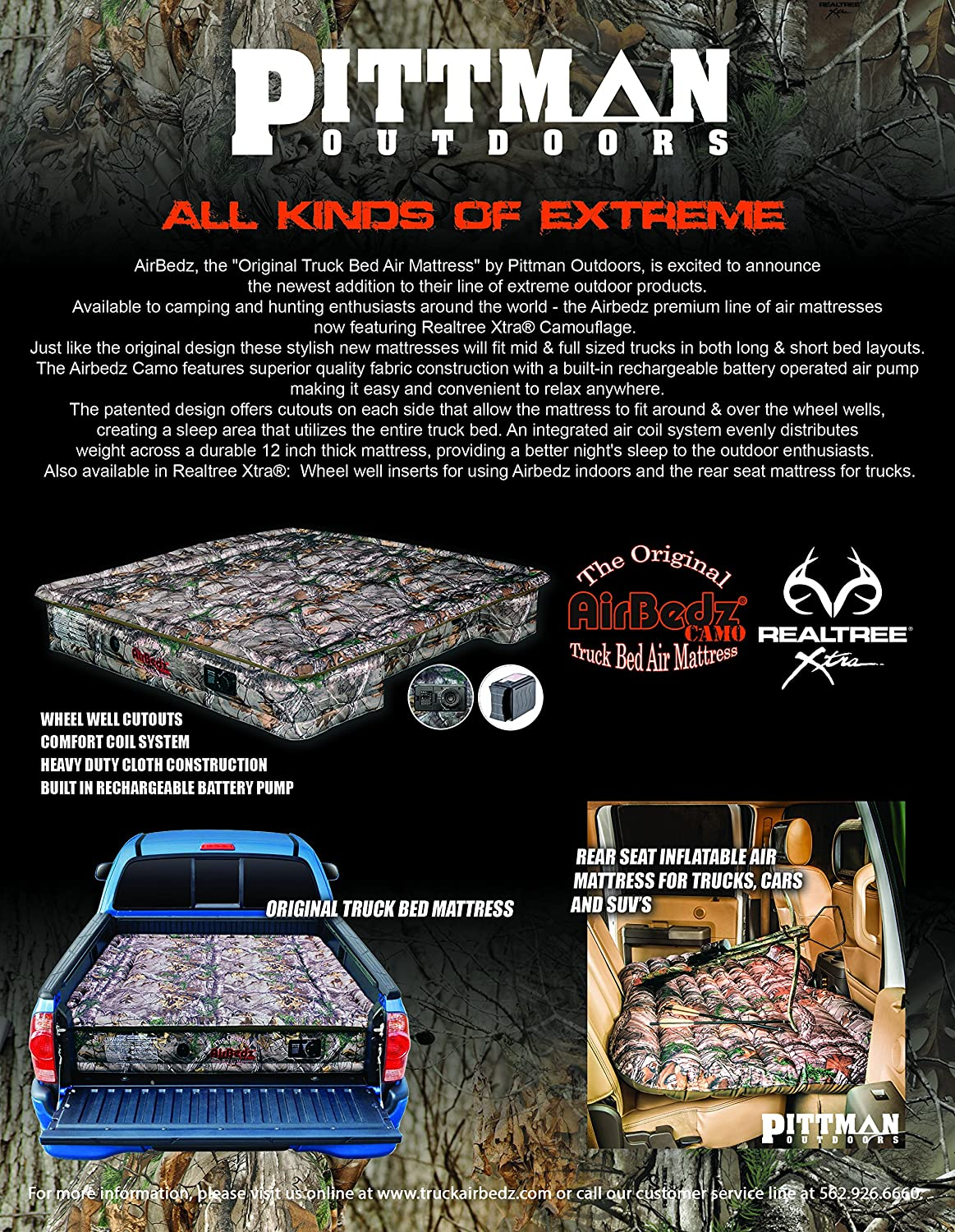 AirBedz PPI 404 Camo 404-Full Full Size 5.5-5.8 Short Bed with Built-in Rechargeable Battery Air Pump and Tailgate Mattress