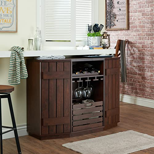 Farmhouse Liquor Cabinet with Stemware Racks #homebar #homebarliquorcabinet