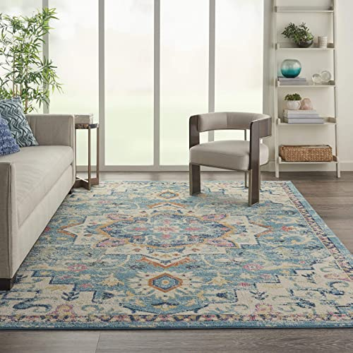 Nourison Passion Transitional Bohemian Ivory Light Blue 8 x 10 Area Rug 8 x 10