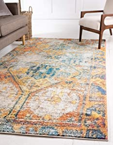 Unique Loom Monterey Collection Tribal Bohemian Vintage Bright Colors Beige Area Rug (4' 0 x 6' 0)