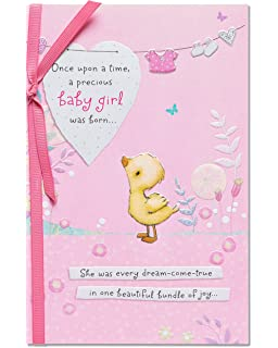 american greetings bundle of joy new baby girl congratulations card with ribbon