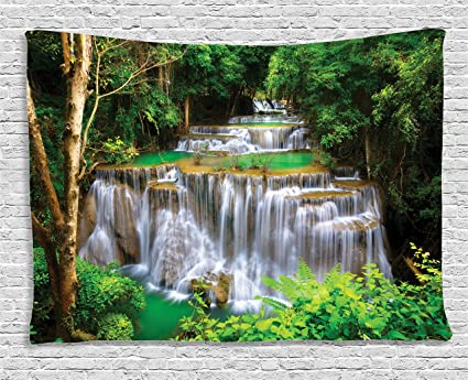 Merveilleux Ambesonne Natural Waterfall Decor Collection, Stunning View Of Waterfall In  Kanjanaburi Stream Crossing Forest,