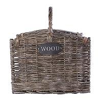 Grey Washed Wicker Fireside Heavy Duty Log Basket