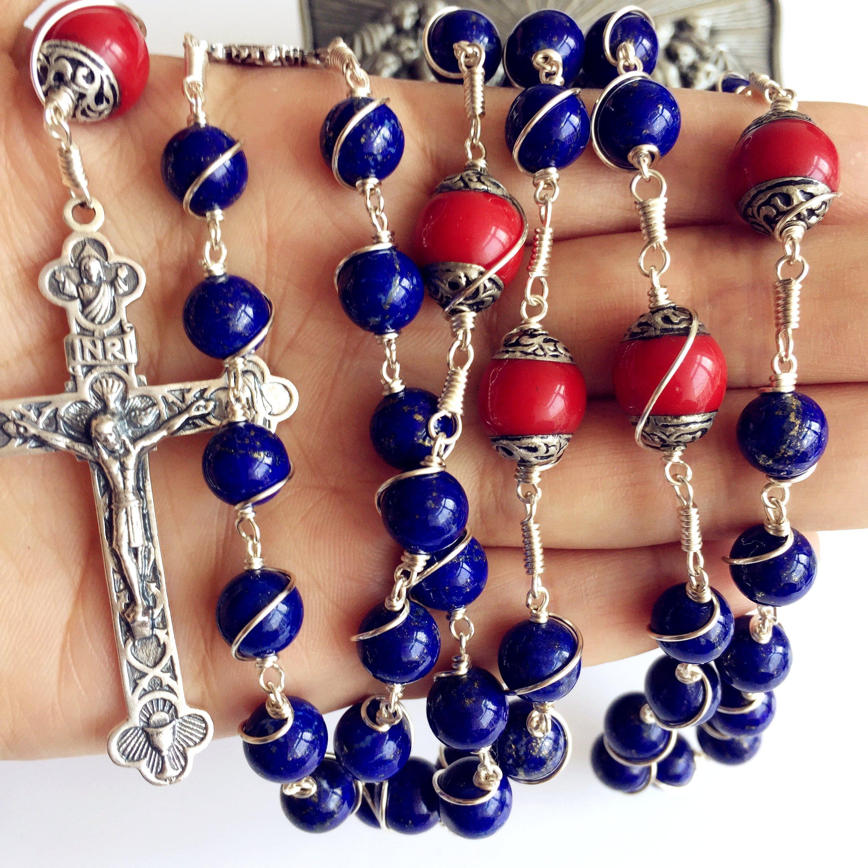 Handmade Sterling 925 Silver Lapis Lazuli Beads Rosary Cross Crucifix Catholic Necklace Gifts by elegantmedical (Image #6)