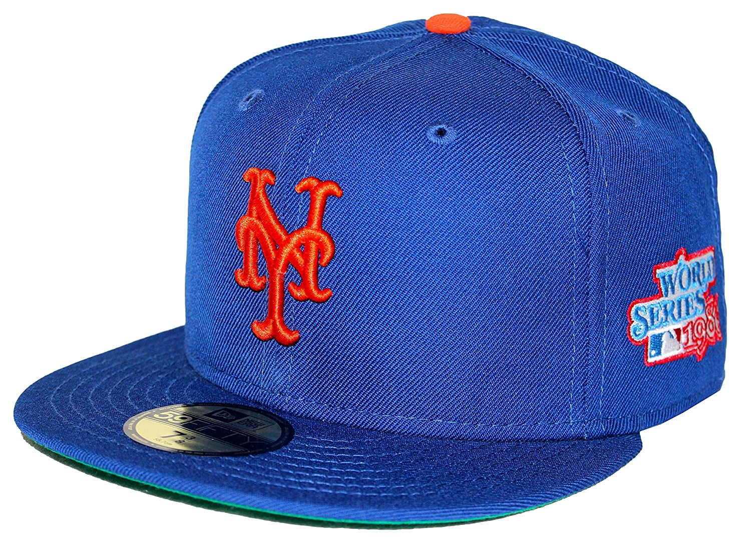 4e8bb7953fb New Era 59Fifty 1986 World Series Patch New York Mets Blue Fitted Cap (7  1 2) at Amazon Men s Clothing store