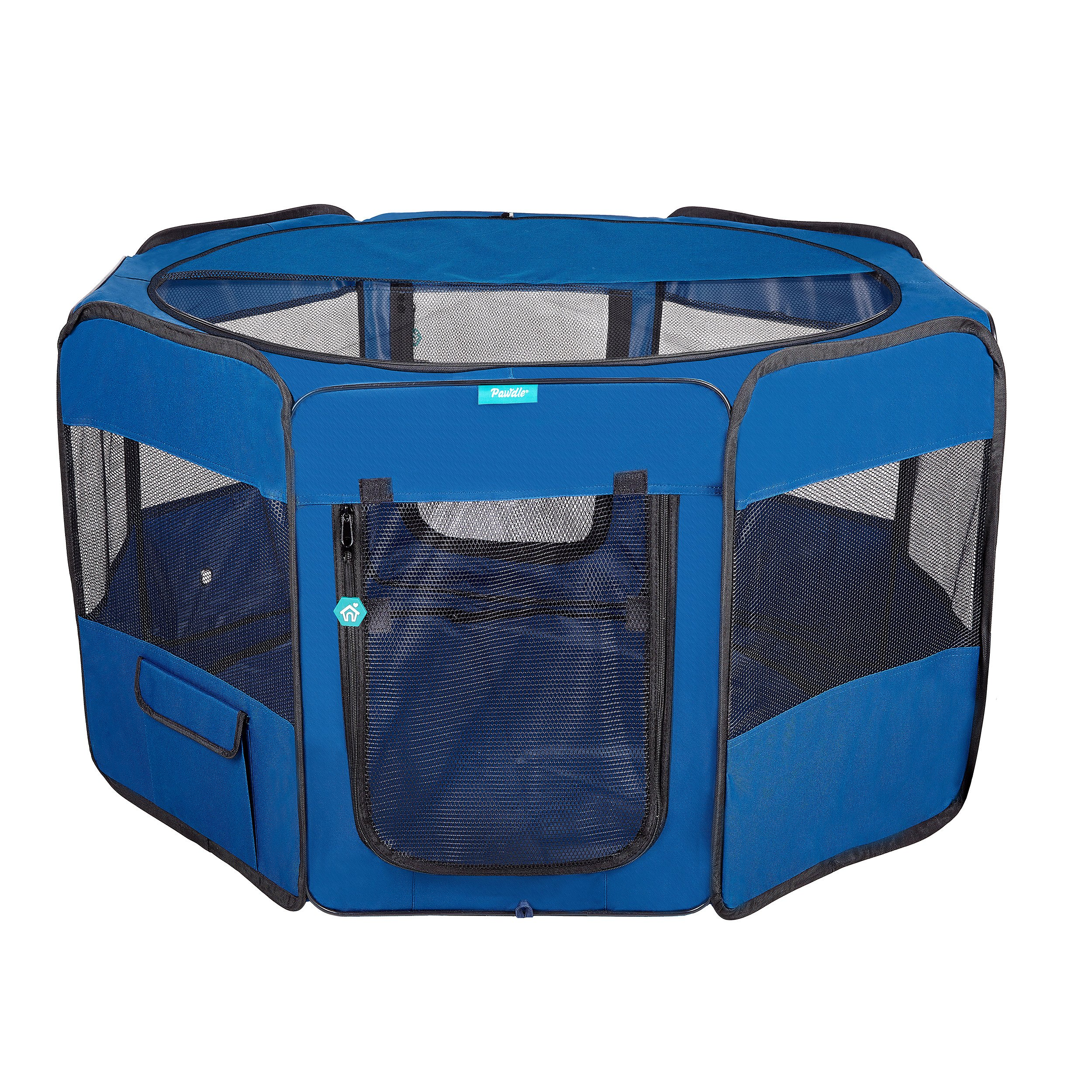 DELUXE PREMIUM Pet Dog Playpen Portable Soft Dog Exercise Pen Kennel with Carry Bag for Dogs, Cats, Kittens, and all Pets (Large, Blue)