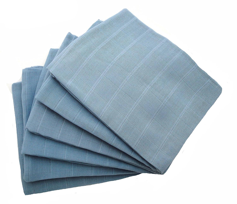 MuslinZ Baby Muslin Squares (Pack of 6, Blue) MUZB-6