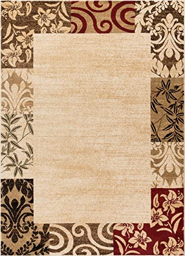 Well Woven Verdant Vines Beige Modern Damask Border Rug 5×7 5 3 x 7 3 Casual Oriental Easy Clean Stain Fade Resistant Shed Free Contemporary Floral Formal Gradient Soft Living Dining Room Rug