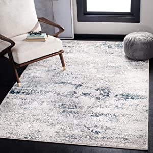Safavieh Amalfi Collection AMF572C Modern Contemporary Abstract Area Rug, 3' x 5', Cream/Navy