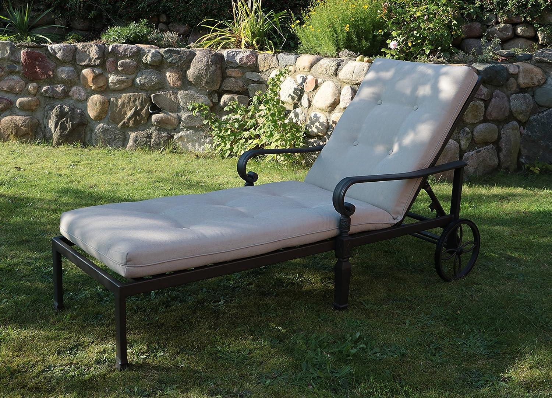 Aluguss Gartenliege Sonnenliege Deckchair Liege Liegestuhl Gartenbett auf Rädern (1 Stück)