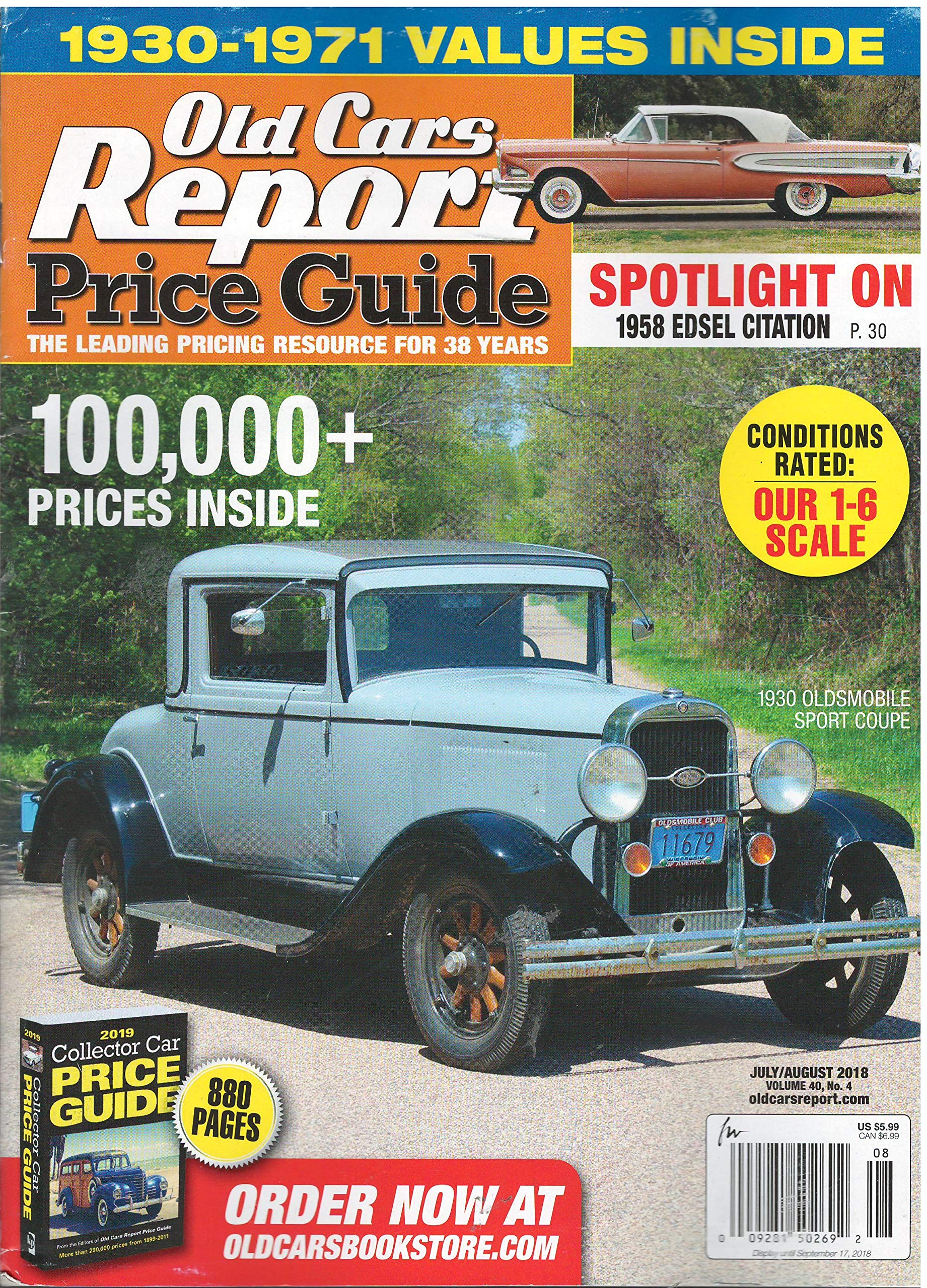 Old Car Values >> Old Car Report Price Guide Magazine July August 2018