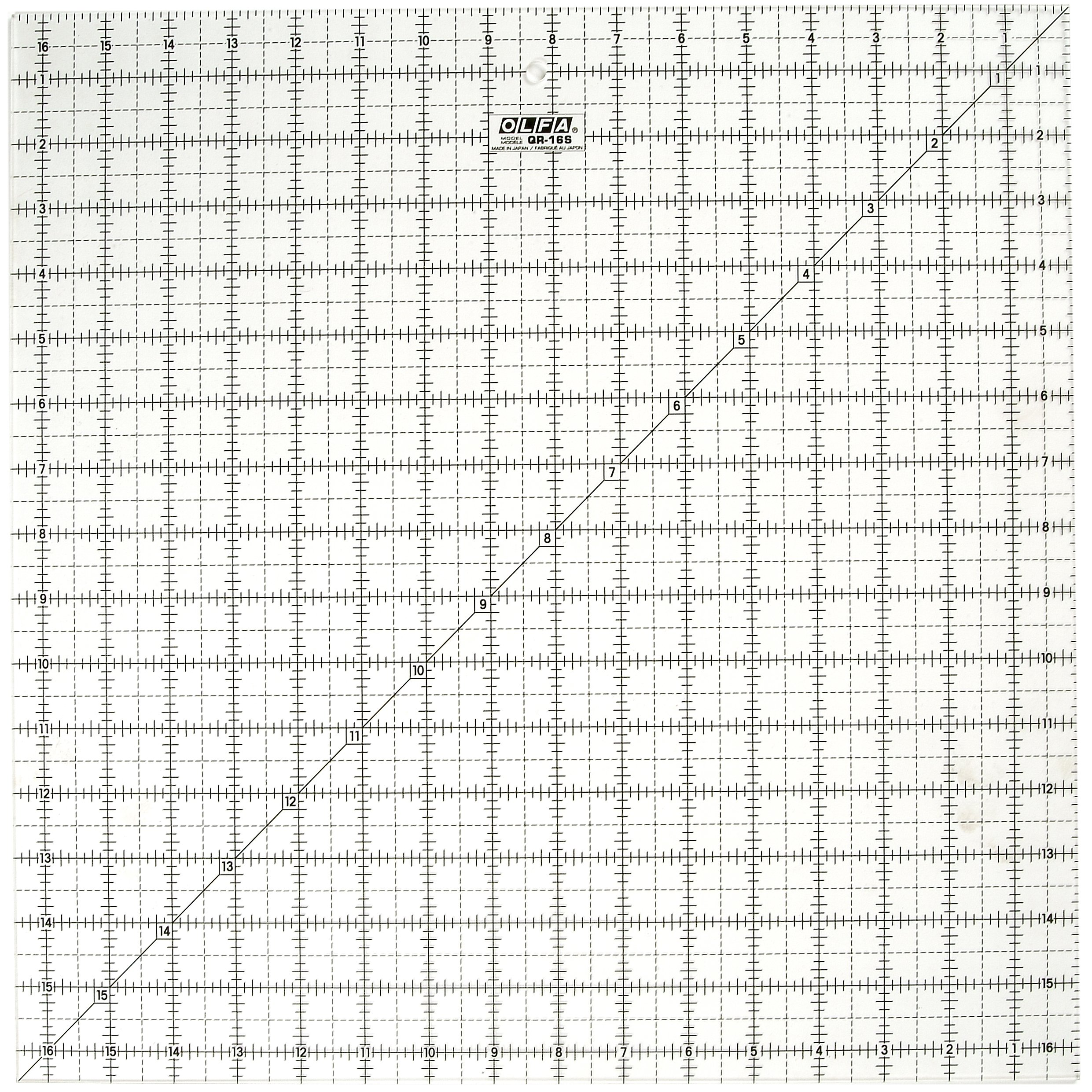 OLFA 1071800 QR-16S 16-1/2-Inch Square Frosted Advantage Acrylic Ruler by OLFA