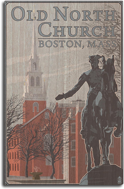 Lantern Press Boston, Massachusetts - Old North Church (10x15 Wood Wall Sign, Wall Decor Ready to Hang)