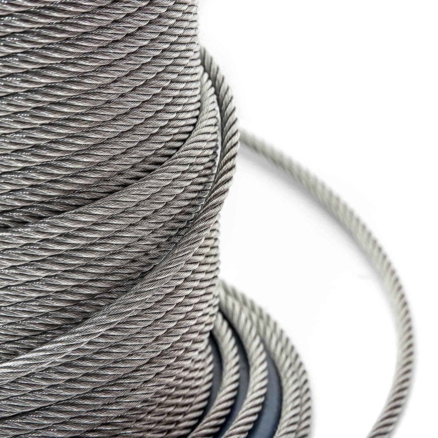 ALEKO WR3//16G7X19F500 3//16 Inch Diameter 7 x 19 Strand Galvanized Aircraft Steel Cable Wire Rope 500 Feet