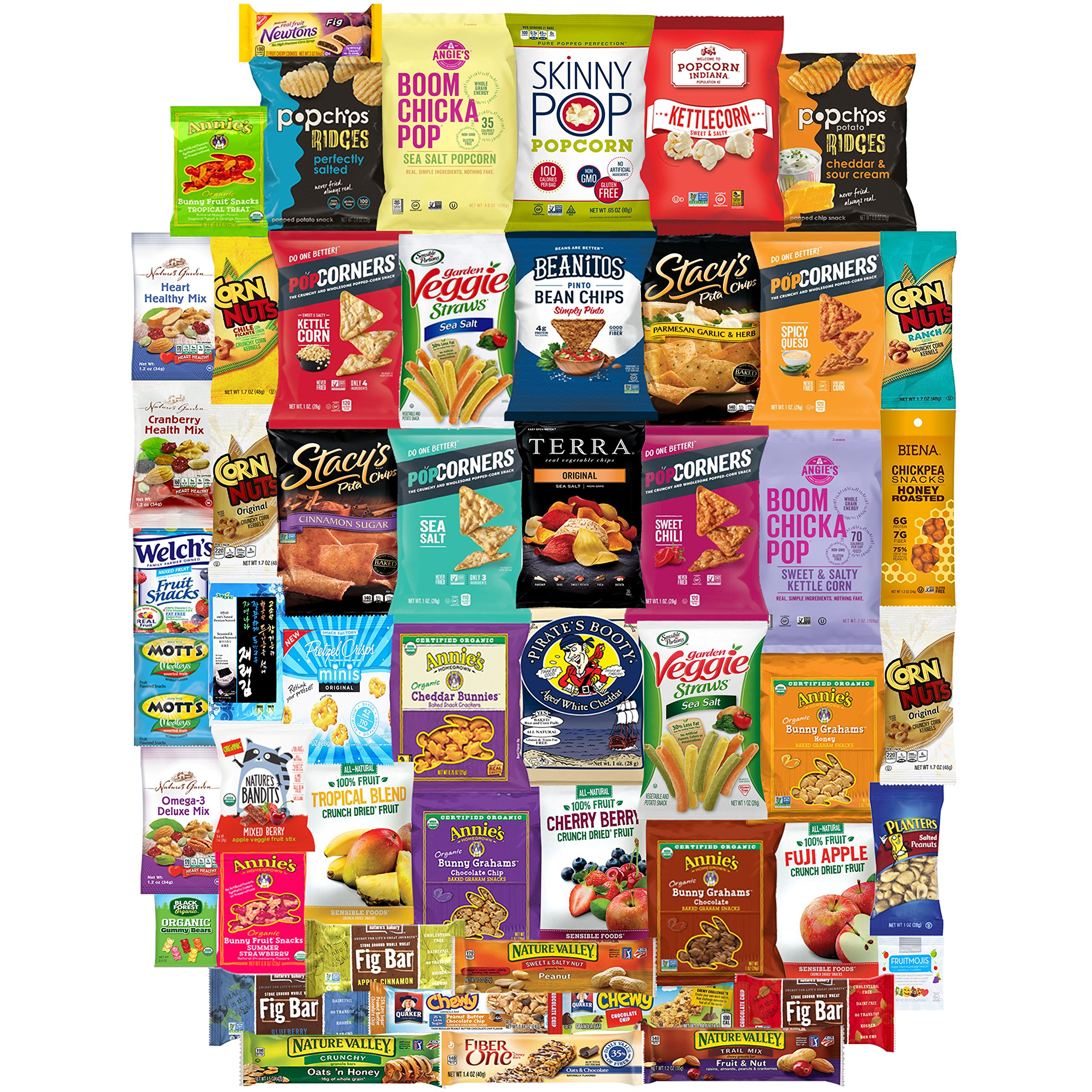 Healthy Snacks Care Package, Many Different Treats To Sample, Chips, Popcorn, Nuts and Gummy Items (50 Count)
