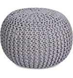 BIRDROCK HOME Round Pouf Foot Stool Ottoman - Knit Bean Bag Floor Chair - Cotton Braided Cord - Great for The Living…