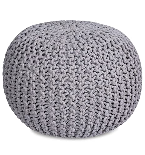 Tremendous Birdrock Home Round Pouf Foot Stool Ottoman Knit Bean Bag Floor Chair Cotton Braided Cord Great For The Living Room Bedroom And Kids Room Inzonedesignstudio Interior Chair Design Inzonedesignstudiocom