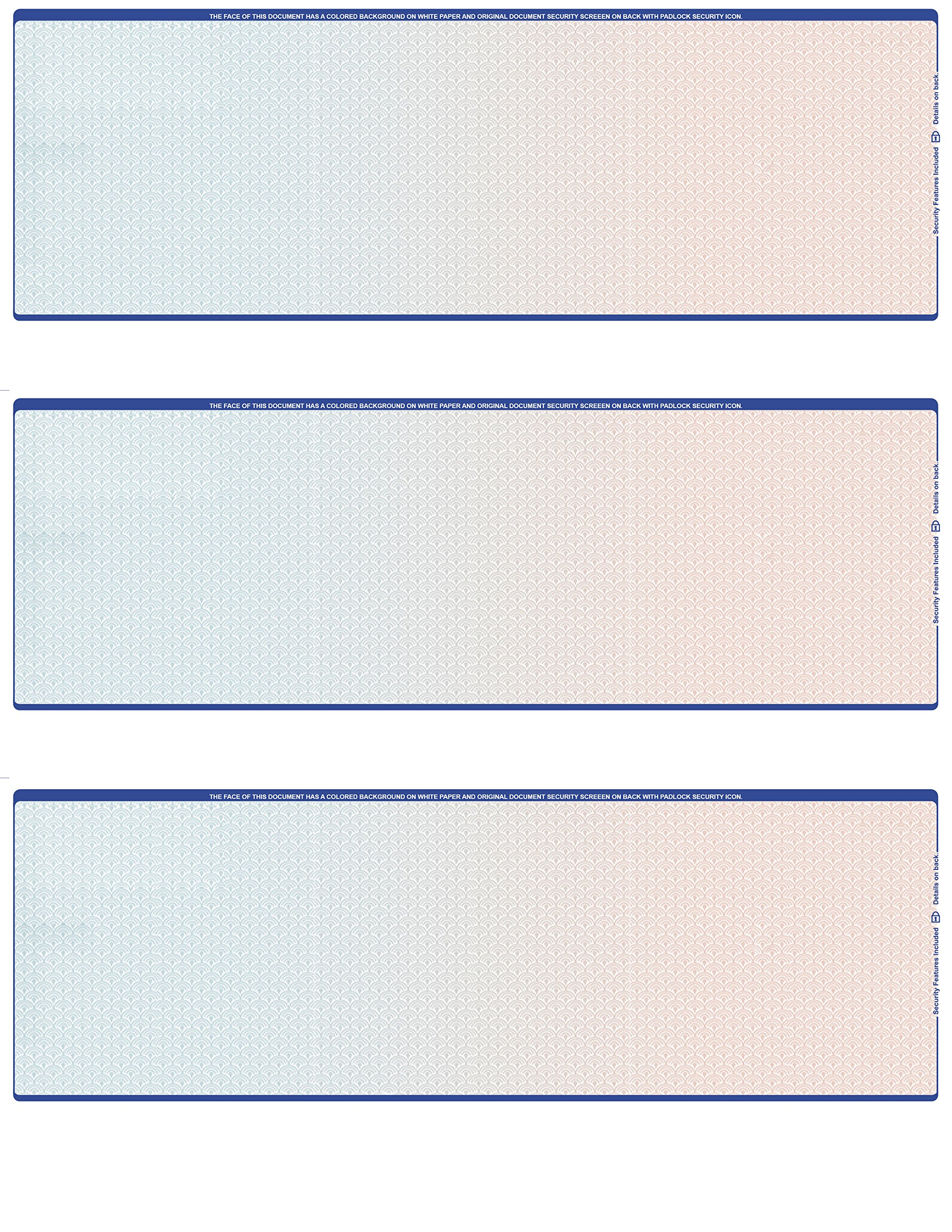 500 Sheets / Blank Laser 3 to a page Computer Checks (Blue Red)