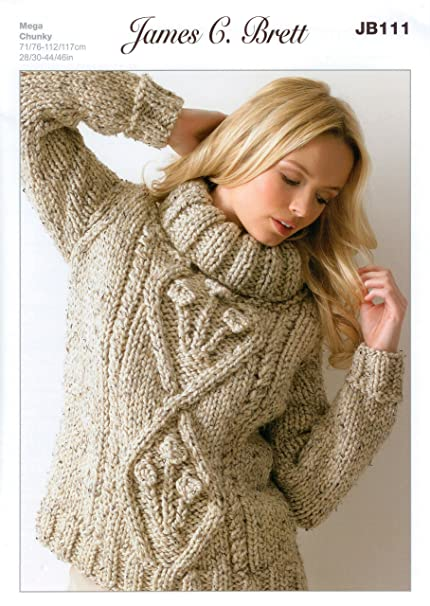 James C Brett Jb111 Knitting Pattern Womens Polo Neck Sweater In