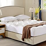 Cheer Collection King Cool Touch Bamboo Mattress Topper Pad, Bed Topper with Ultra Plush Fitted Eco Friendly…