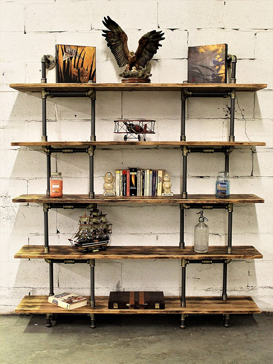 "Furniture Pipeline Industrial Wall Mounted Large Storage 5 Shelf Bookcase, Metal and Reclaimed Aged Wood Finish, 71"" H"