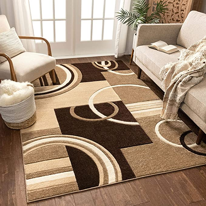 Echo Shapes Circles Ivory Beige Brown Modern Geometric Comfy Casual Hand Carved Area Rug 5x7 5 3 X 7 3 Easy Clean Stain Fade Resistant Abstract Contemporary Thick Soft Plush Living Room Garden Outdoor Amazon Com