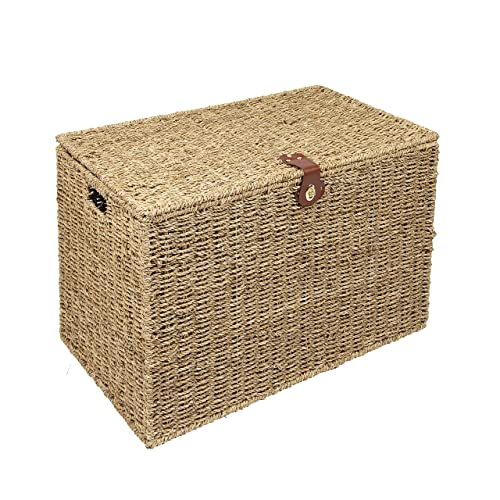 Delicieux Woodluv Large Seagrass Storage Trunk Linen Laundry Storage Basket, Natural