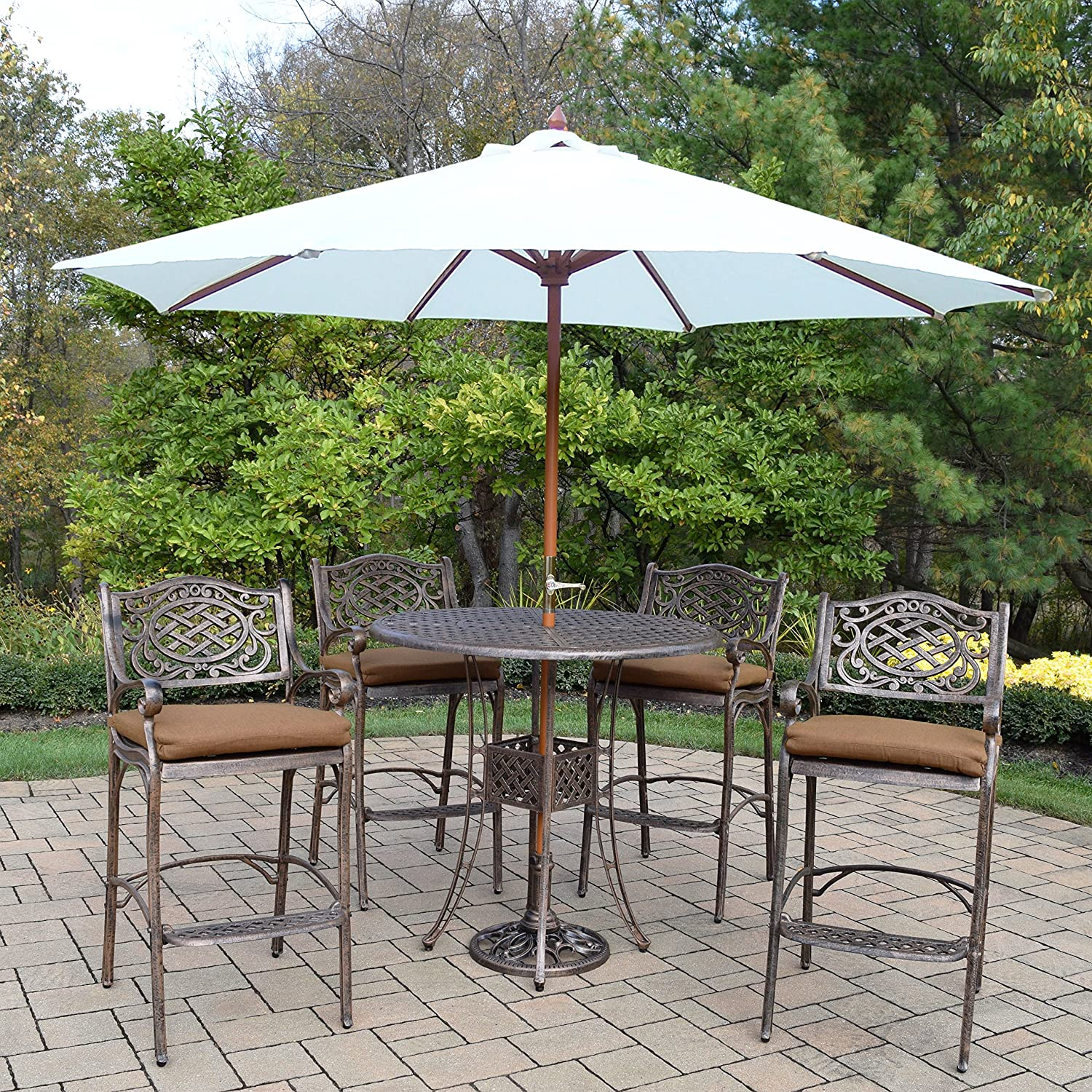 Amazon Com Oakland Living Ice Cooler Carts Az1101bt 2110bc4 D54 4001wt 4101ab 11 Ab Elite Mississippi Bar Set With Table Sunbrella Cushioned Bar Stools Crank Wooden Umbrella And Stand Antique Bronze Garden Outdoor