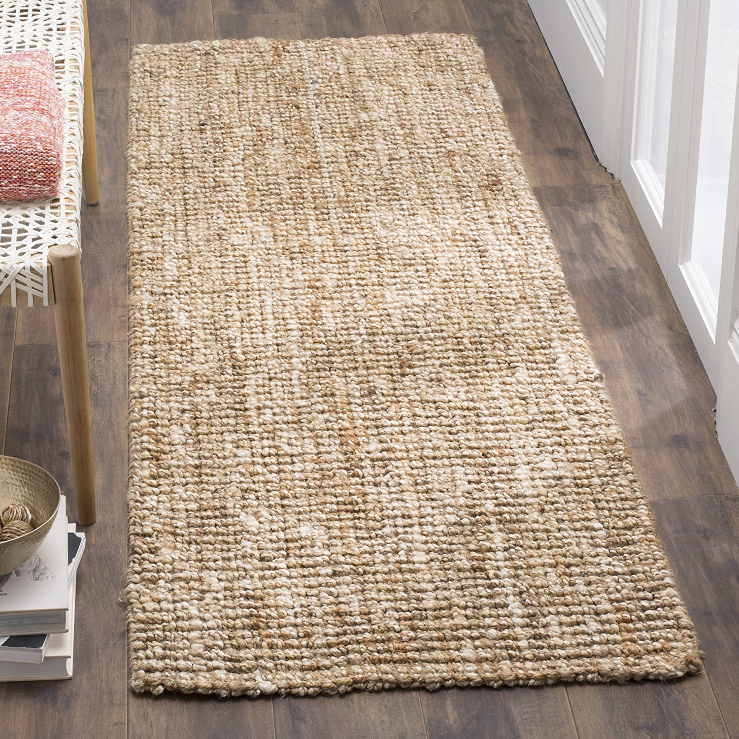 """Safavieh Fiber Collection NF447N Hand-Woven 0.5-inch Thick Chunky Textured Jute Runner, 2' 6"""" x 12', Natural/Ivory"""