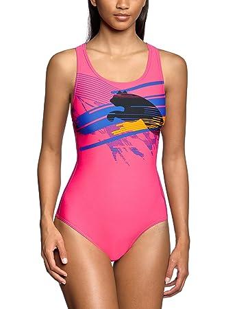 Puma Hydrocat Womens Swimming Costume With Graphic Virtual Pink