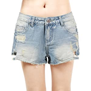 NONOSIZE Women's Distressed Blue Low Waist Ripped Hole Denim Shorts Jeans (Small)