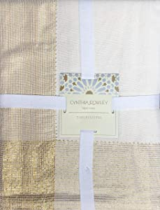 Cynthia Rowley New York Holiday Tablecloth Solid Ivory/Off-White with Thin Woven Gold Metallic Sparkle Border Stripes - Elina Wide Hemstitch Lurex, 60 Inches x 108 Inches