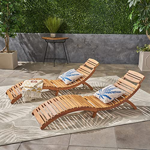 Christopher Knight Home 296060 Set of 2 Lisbon Outdoor Folding Chaise Lounge Chair, Natural Yellow