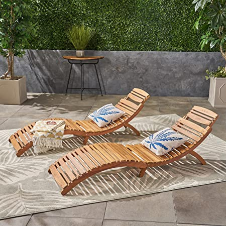 Great Deal Furniture 296060 Set of 2 Lisbon Outdoor Folding Chaise Lounge Chair, Natural Yellow