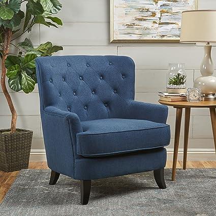 Amazon.com: Christopher Knight Home 301415 Anikki Arm Chair Navy Blue/Dark  Brown: Kitchen U0026 Dining