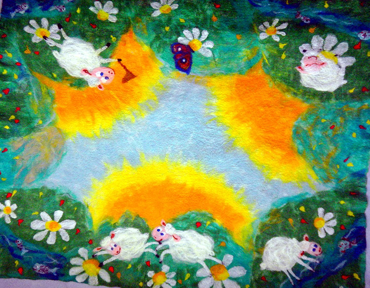 Image of Baby blanket with lambs handmade Soft merino wool felted kids playmat toddler gift Home and Kitchen