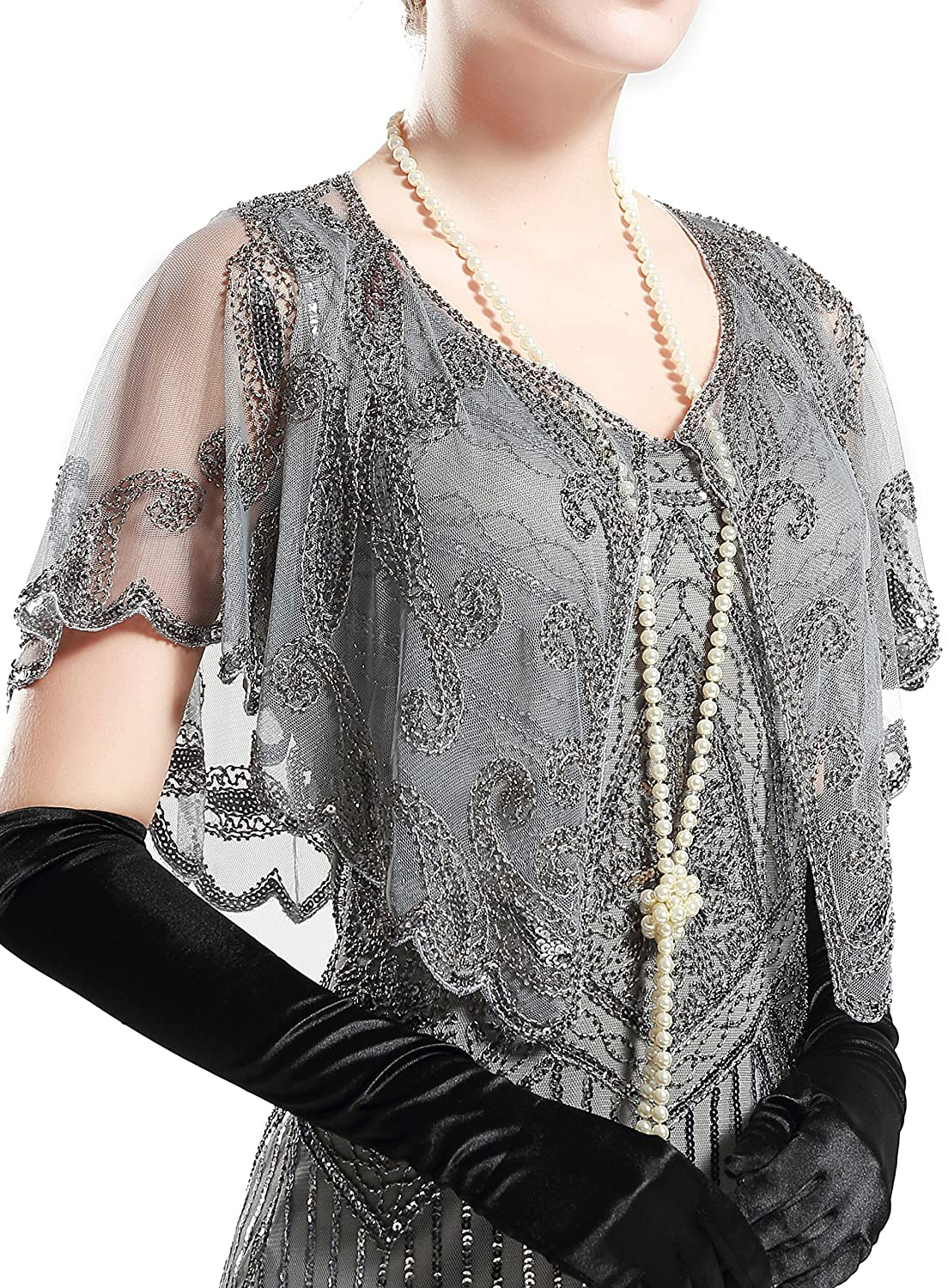 BABEYOND 1920s Shawl Wraps Sequin Beaded Evening Cape Bridal Shawl Bolero Flapper Cover Up (Gray) CA-US-vintageshawl