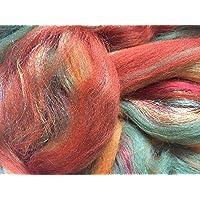Ámbar brillante, mezcla de lana merina/seda/trilobal para fieltro
