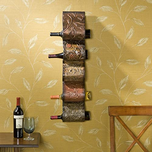 Southern Enterprises 5 Wine Bottle Wall Mount Rack Sculpture – Functional Storage Art – Hand Painted Earth Tones Finish