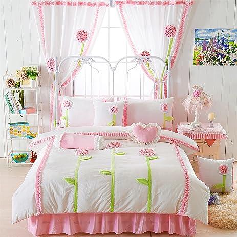 lotus karen winter thick flannel korean bed sheet set handmade patchwork pink flowers 4pc girls flannel