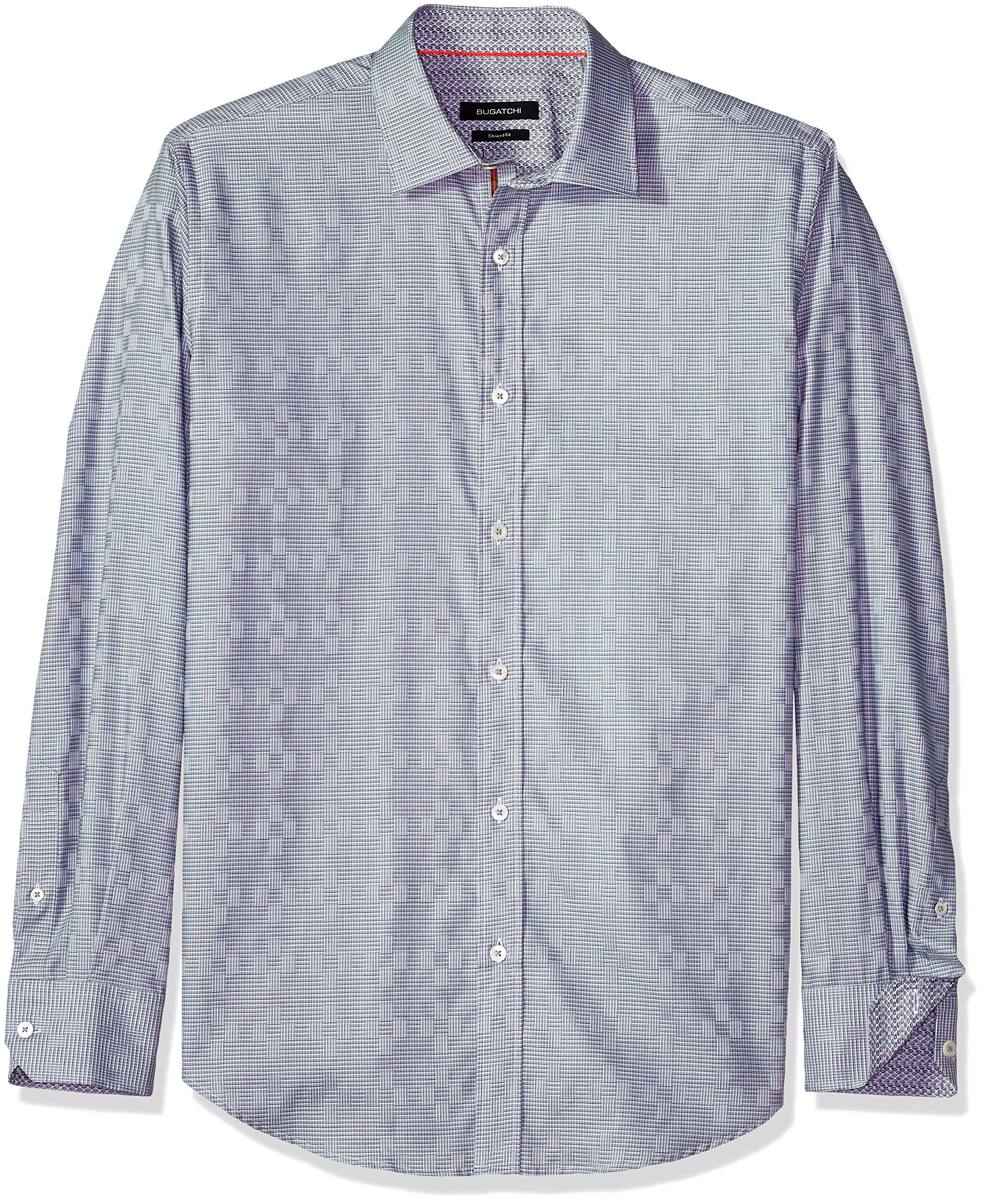 Bugatchi Men's Small Houndstooh Pattern Shaped Fit Cotton Long Sleeve Shirt, Platinum, XXL
