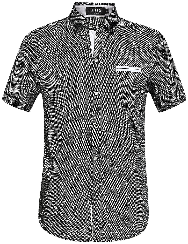 Sslr Men's Cotton Polka Short Sleeves Slim Fit Dress Shirts by Sslr