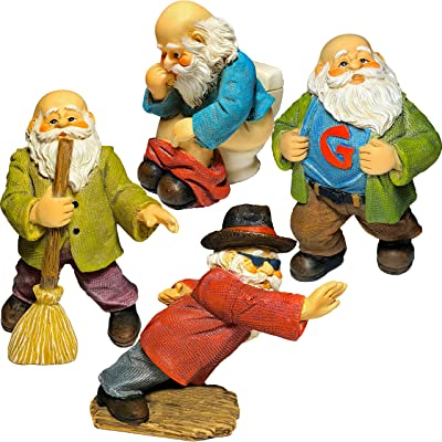 Mood Lab Miniature Gnomes - Fairy Garden Kit of 4 Funny Figurines - 2,8 inch H Set: Garden & Outdoor