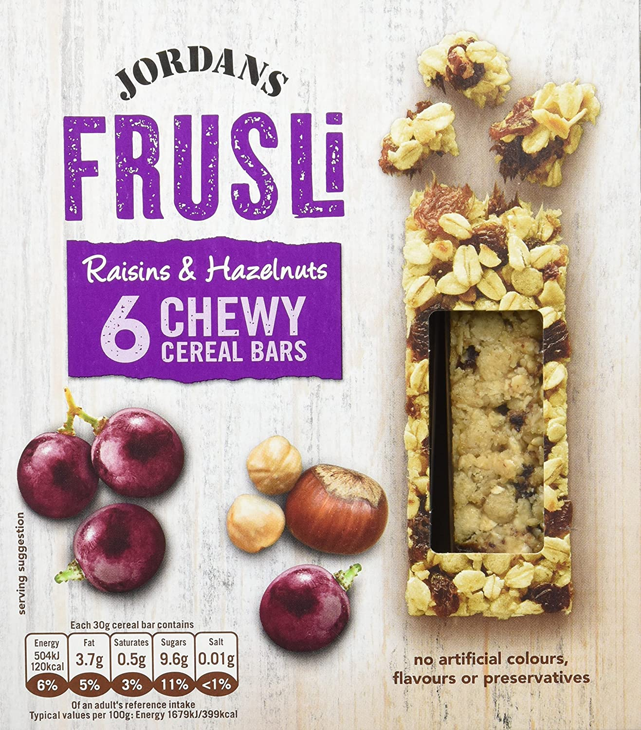 Jordans Frusli Raisin and Hazelnut, 6 barritas x 30 gr - , Pack de ...