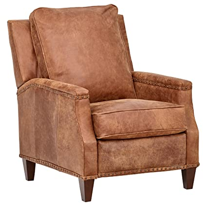Super Stone Beam Marin Studded Leather Recliner Chair 30W Saddle Brown Ibusinesslaw Wood Chair Design Ideas Ibusinesslaworg