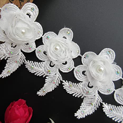 1m White Pearl Beaded Trimming Vintage Style Applique Edge Sew on