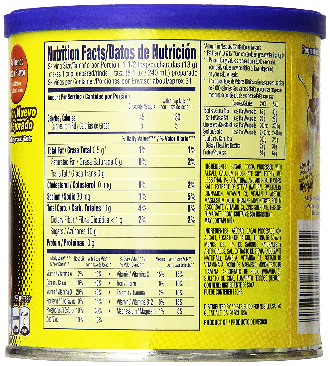 Amazon.com : Nestle Nesquik Powder Drink Mix, Chocolate, 14.1-Ounce Cans (Pack of 6) : Powdered Chocolate Beverage Mixes : Grocery & Gourmet Food