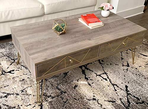 Modern Table for Living Room, Storage Table, TV Table, Sofa Table, Accent Table, Coffee Table with Golden Legs and Carving Grey Wash