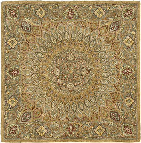 Safavieh Heritage Collection HG914A Handcrafted Traditional Oriental Light Brown and Grey Wool Square Area Rug 10' Square