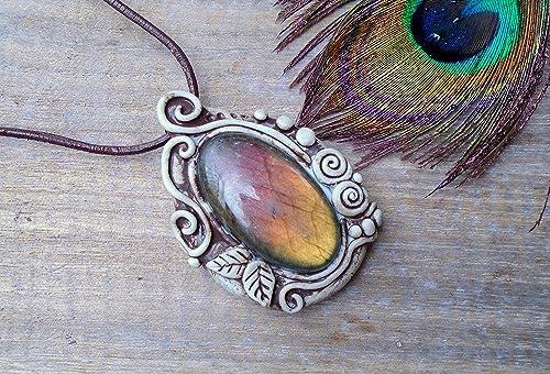 Crystal Amulet Electroformed Jewelry Labradorite Necklace Talisman